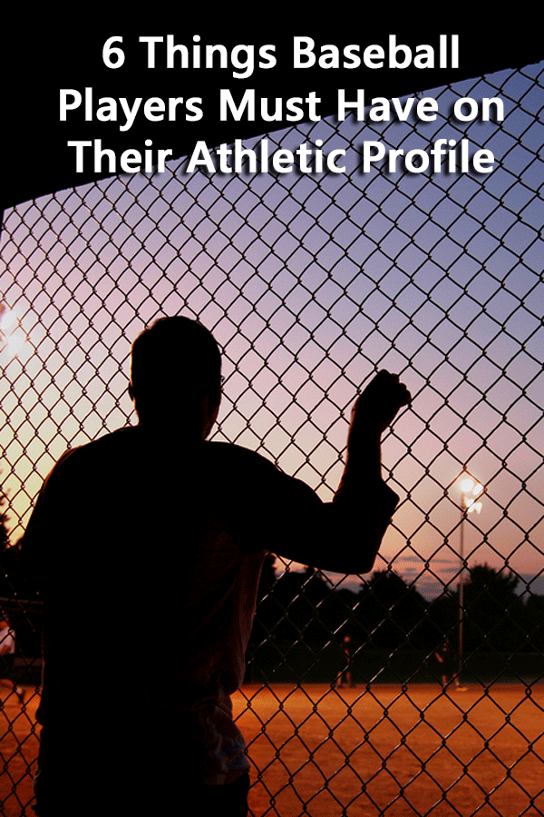 A list of the elements that must be included in a high school athletic profile with a specific focus on baseball.