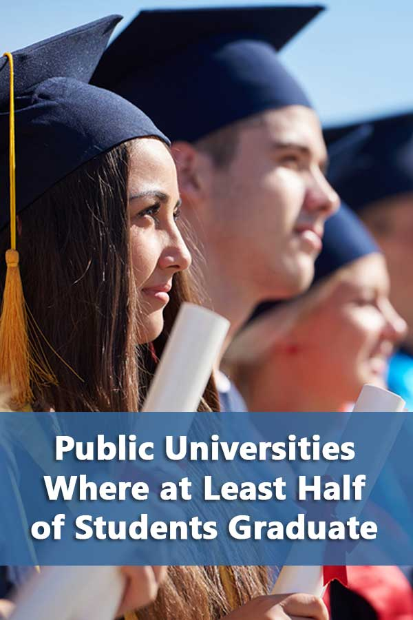 Listing of all public universities with a 50% or better graduation rate and explanation of public university graduation rates.