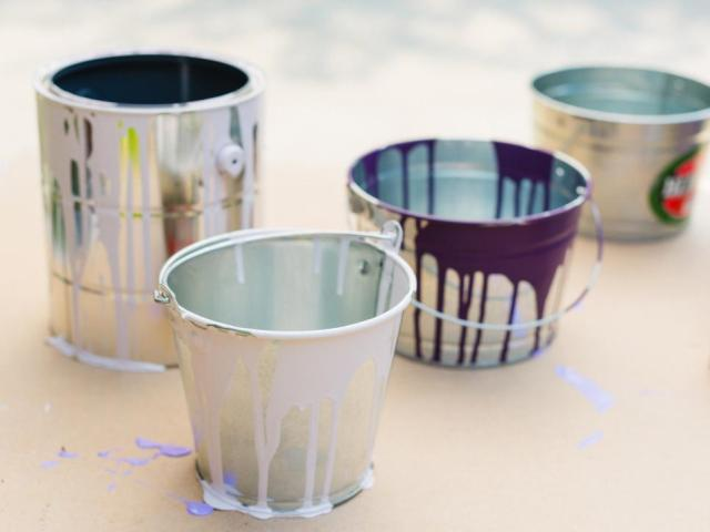 DIY Empty Paint Can Planters