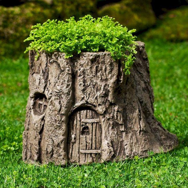 DIY Tree Stump Planter Idea