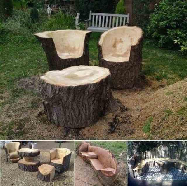 DIY Tree Stump Chair Table