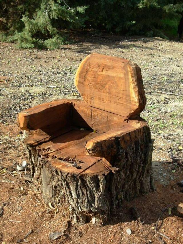 transform tree stump into chair