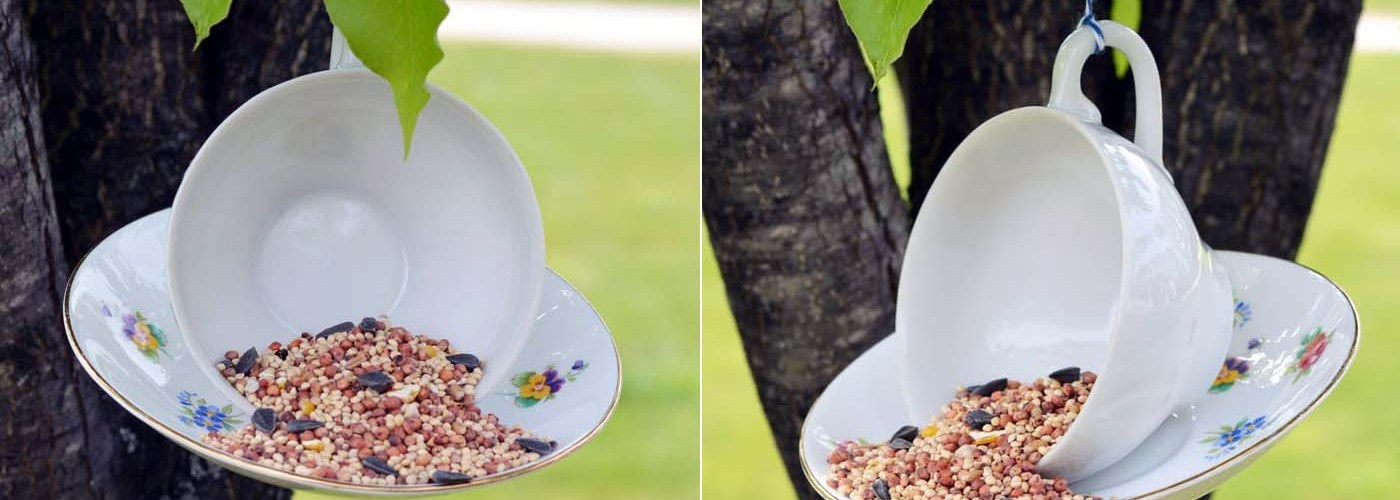 DIY Hanging-Teacup Bird Feeder