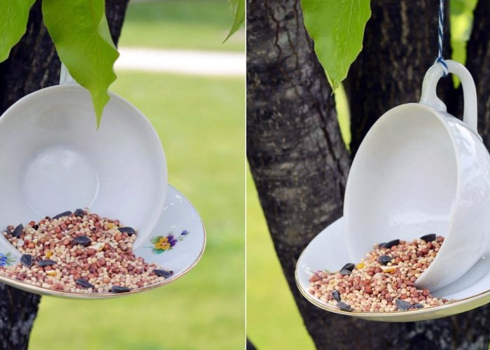 DIY Hanging-Teacup Bird Feeder