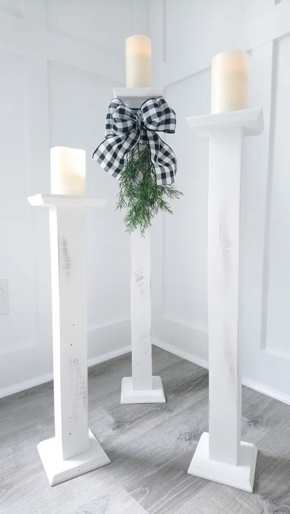 Distressed Rustic White Pallet Wood Candlesticks