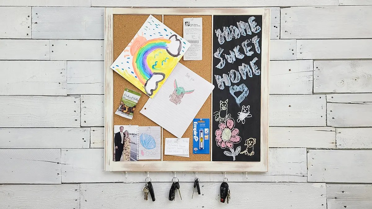A repurposed window sash is now a note board key rack combo.