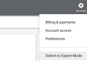 Google Ads Switch to Expert Mode