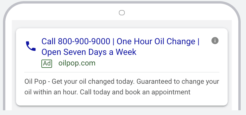 Example of a Call Only Ad