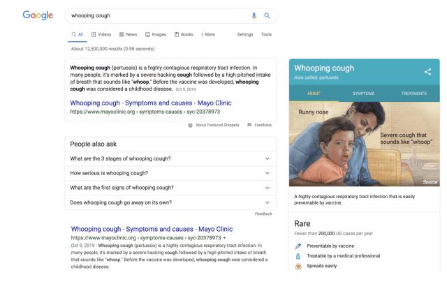 Google Knowledge Panel - Health