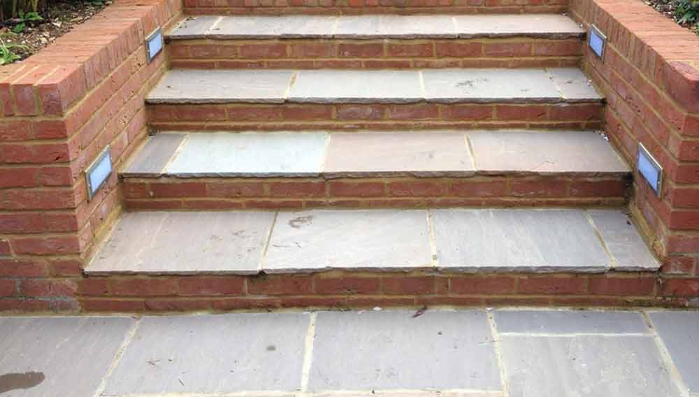 patio steps from brick and concrete