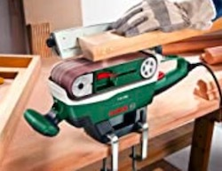 The Bosch PBS 75 A mounted on a benchtop