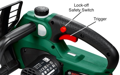 Part of the Bosch UniversalChain 18 showing the proximity of the trigger and the safety switch
