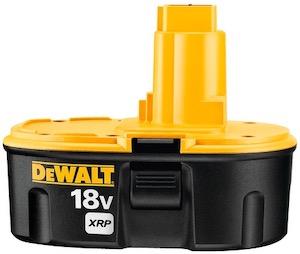 A DeWalt 18V XRP battery