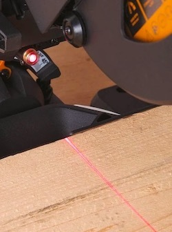 The laser on the Evolution R210SMS+ mitre saw