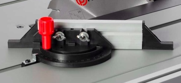 The mitre gauge on the Parker Brand PTS-250 table saw