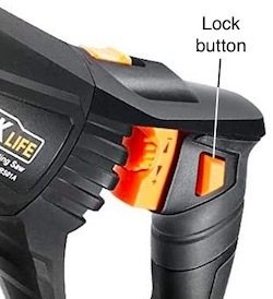 The Tacklife RPRS01A recip saw handle showing the trigger and lock buttons