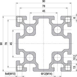 90 x 90 Aluminium Modular Profile - 8 Slots Heavy - DIY-Geek