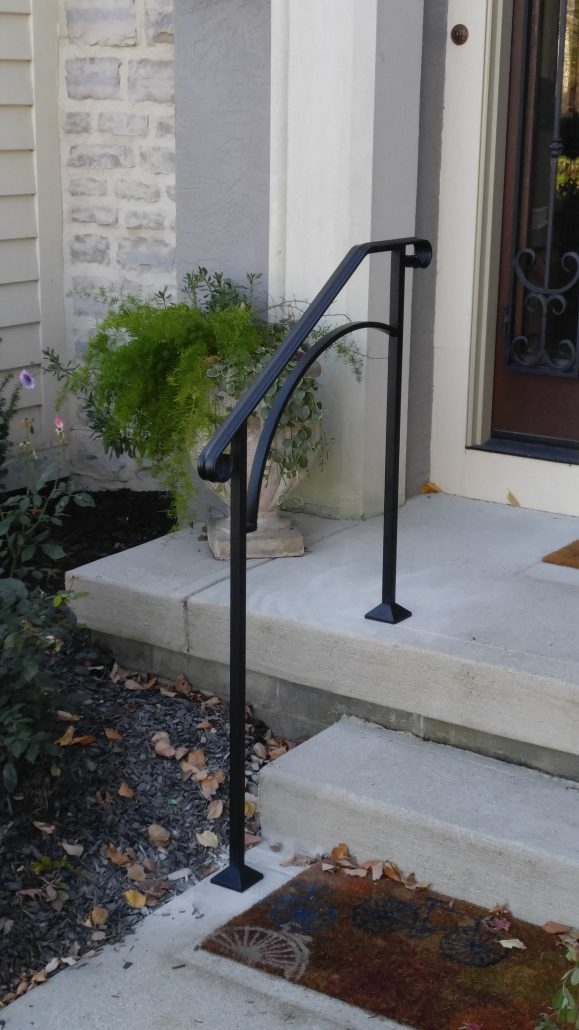 Diy Handrails Installation Outdoor Stair Railing Kits   Outdoor Railings For Concrete Steps   Front Porch   Concrete Slab   Railing Ideas   Steel Handrail   Brick