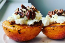 Bourbon Flambéed Summer Peaches with Homemade Ricotta, Toasted Pecans & Honey Recipe