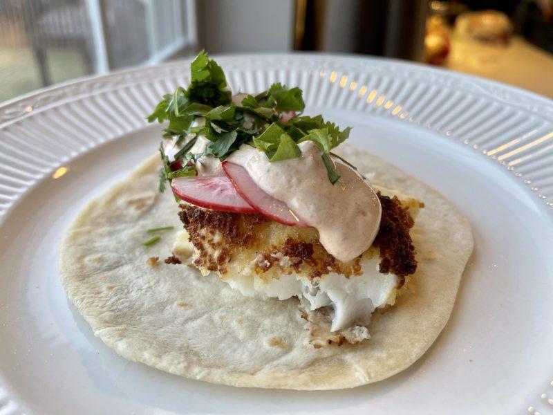 Fish Tacos with Chipotle Crema, Pickled Radishes, & Cilantro