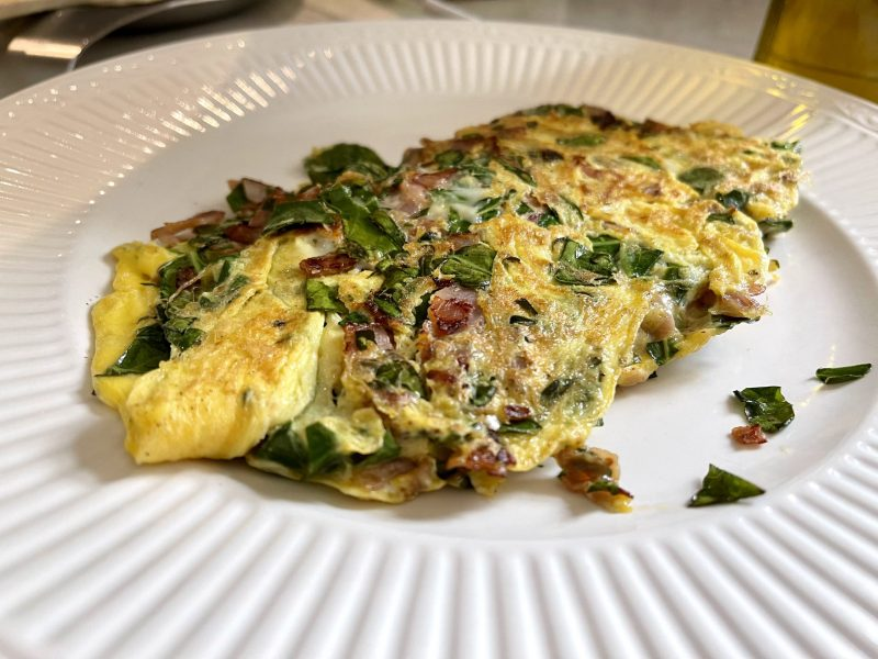 Garden Greens, Ham & Cheese Omelette