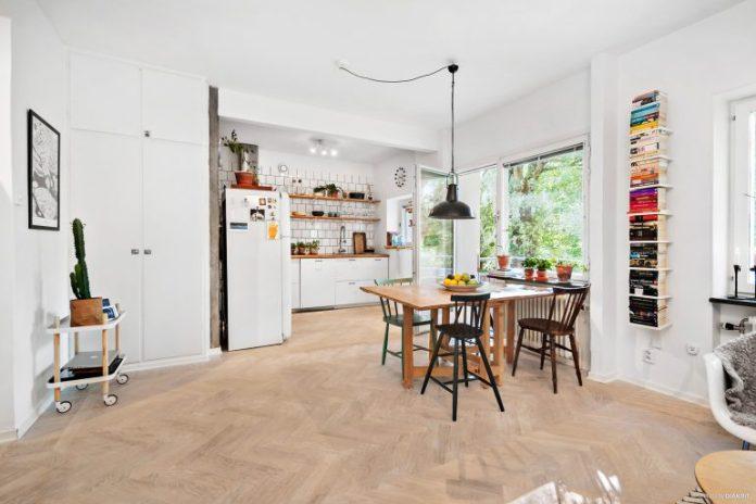 Ambiente integrado apartamento escandinavo