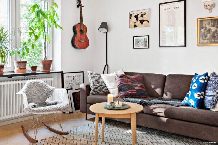 Sala de estar apartamento escandinavo