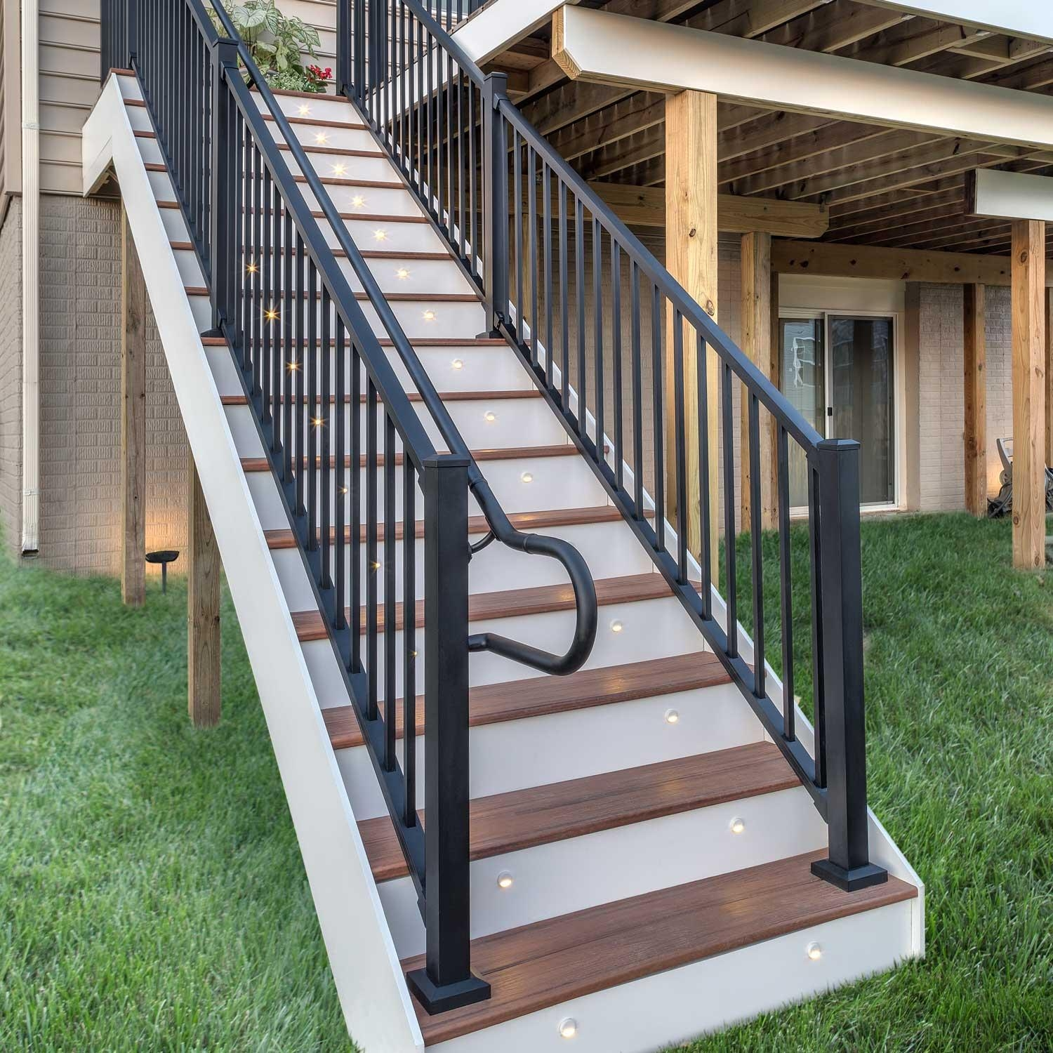 Signature 2 1 2 Aluminum Post W Cap And Skirt For Stairs 53 Trex   Aluminum Handrails For Concrete Steps   Stair   Wood   Front Porch   Back Patio   Mobile Home