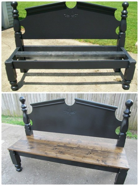 headboard garden bench 8 DIY Bed Frame Garden Bench Projects [Picture Instructions]