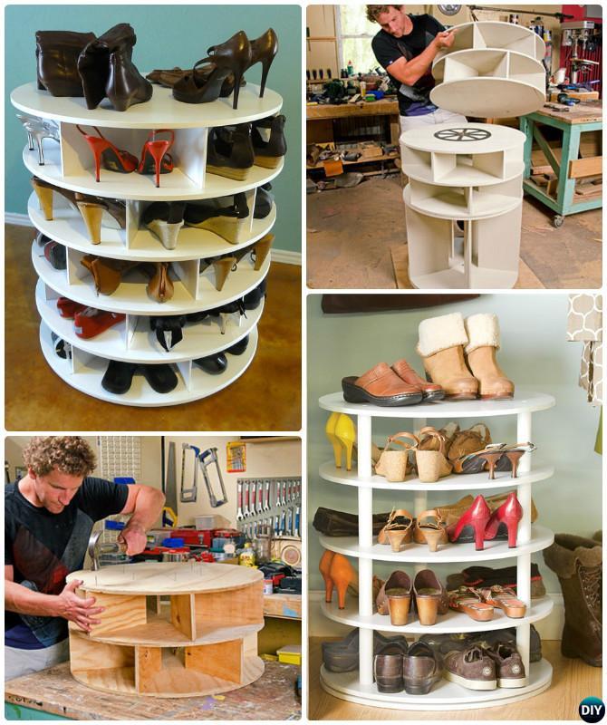 diy rotating lazy susan shoe rack free