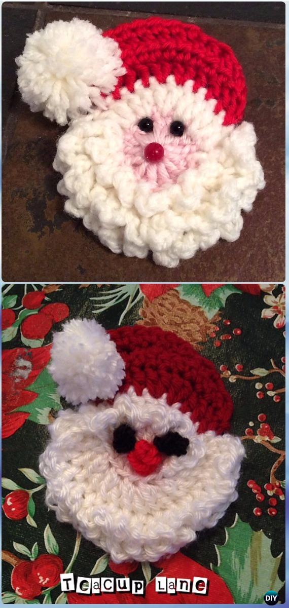 Pattern Crochet Santa Face Ornament