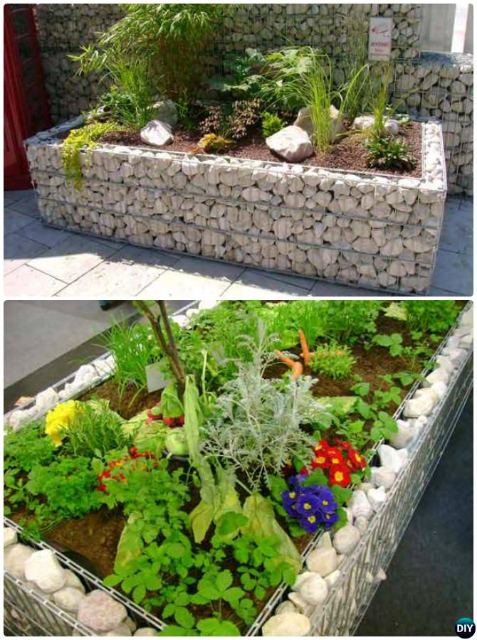 White Gabion Raised Garden Bed Border Edging - 20 Creative Garden Bed Edging Ideas Projects Instructions