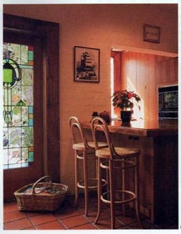 addition of a stained glass door adds character
