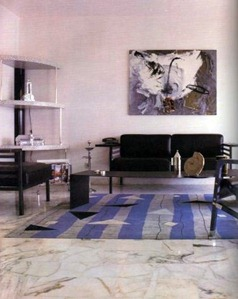 modern interior with marble floor and Bauhaus-inspired furniture
