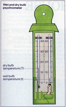 wet and dry bulb psychrometer - greenhouse type