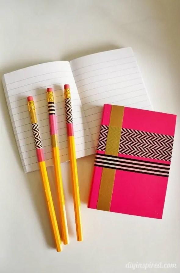 DIY Washi Tape Pencils and Notebook Set