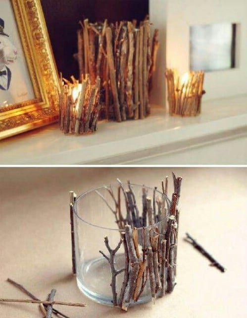 Twig Candle Holders - 40 Rustic Home Decor Ideas You Can Build Yourself