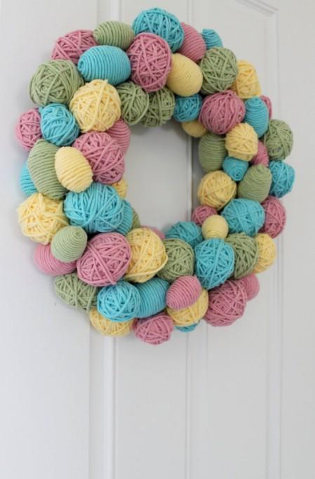 Yarn Egg Wreath - 40 Creative DIY Easter Wreath Ideas to Beautify Your Home