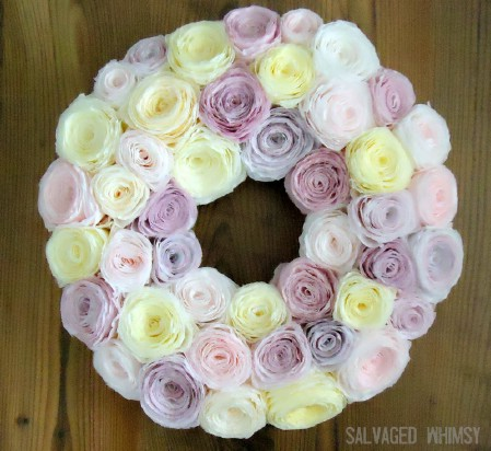 Rolled Paper Flower Wreath - 40 Creative DIY Easter Wreath Ideas to Beautify Your Home