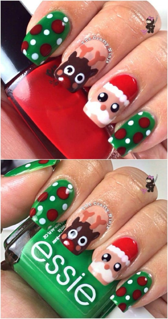 No Particular Skills Required Here And You Can Simply A Few Christmas Themed Nail Art Stickers Get These Cute Looking Toe Nails