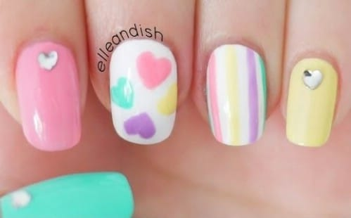 Pastel Love 20 Ridiculously Cute Valentine S Day Nail Art Designs