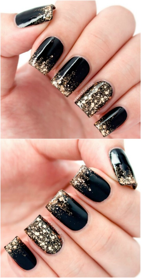 A Beautiful Nail Art Design With Black Polish And Gold Dust On Top