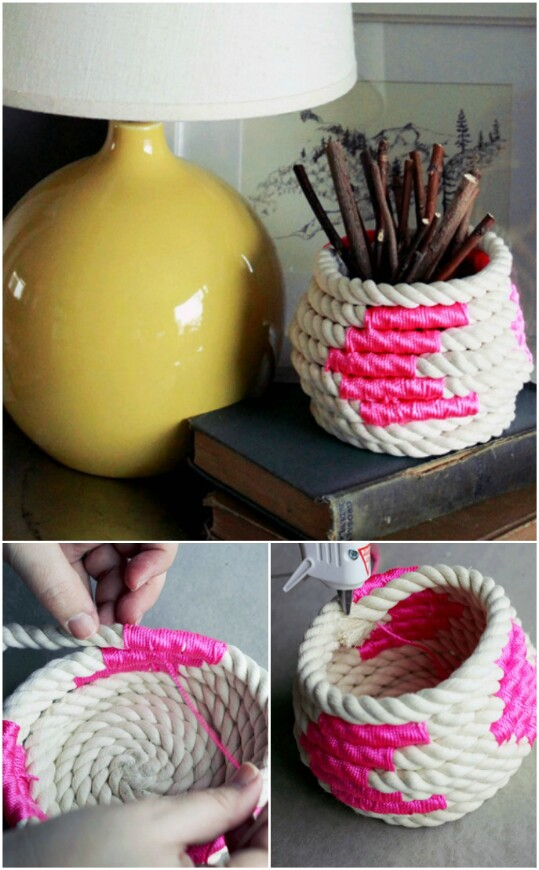 5. Create a coiled rope basket.