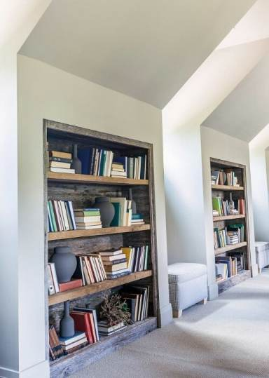 Reclaimed Built in Wood Bookcases