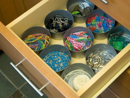 Drawer Organizers - 20 Frugally Genius Ways To Upcycle Empty Tuna Cans