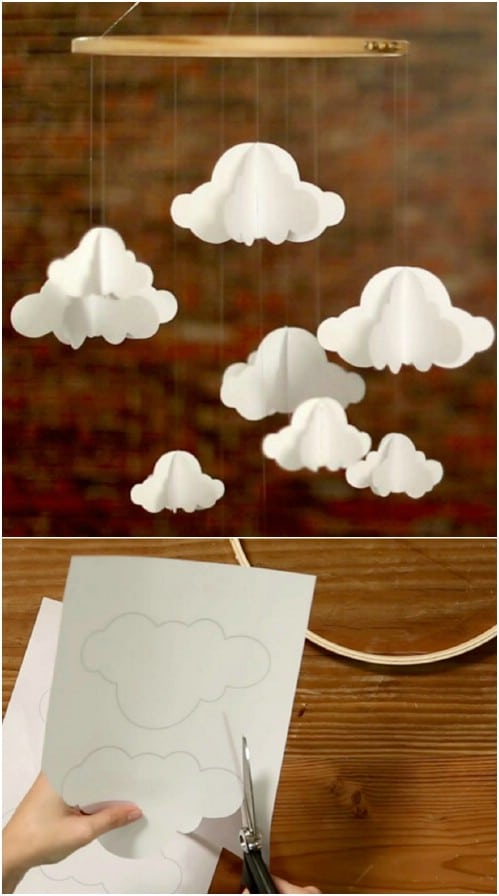 Inexpensive DIY Paper Cloud Mobile