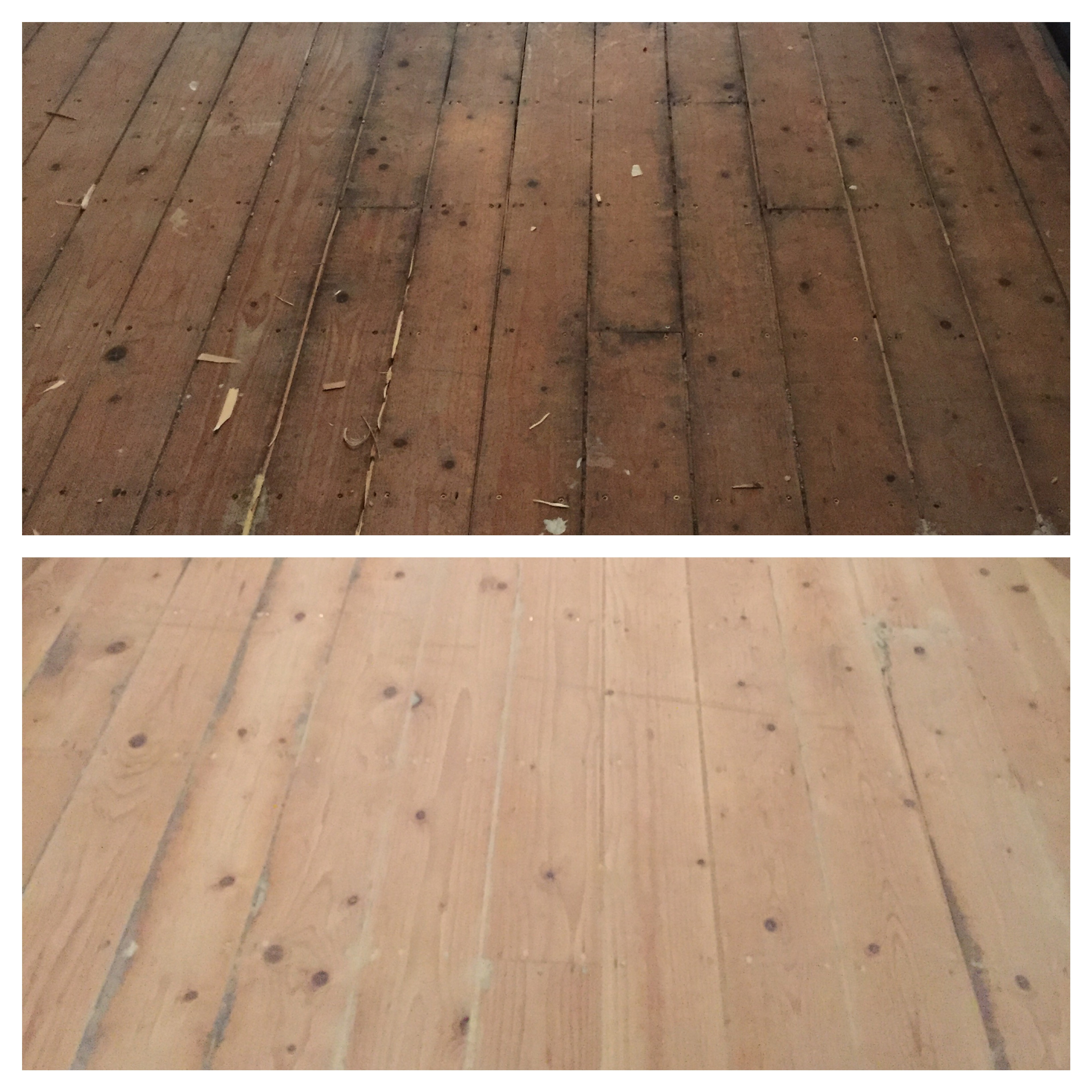 Before and after - the original floorboards versus the sanded floorboards
