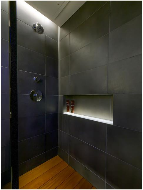 led lighting in shower niche recess