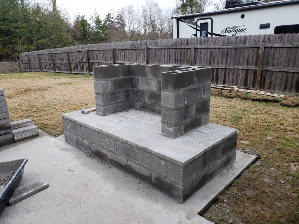DIY outdoor fireplace blockwork - Your DIY Outdoor ... on Diy Cinder Block Fireplace id=33517