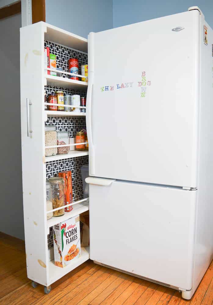 diy space saving rolling pantry read on for full details in the post